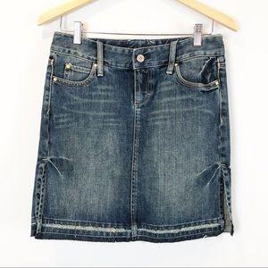 Express X2 Distressed Jean Mini Skirt